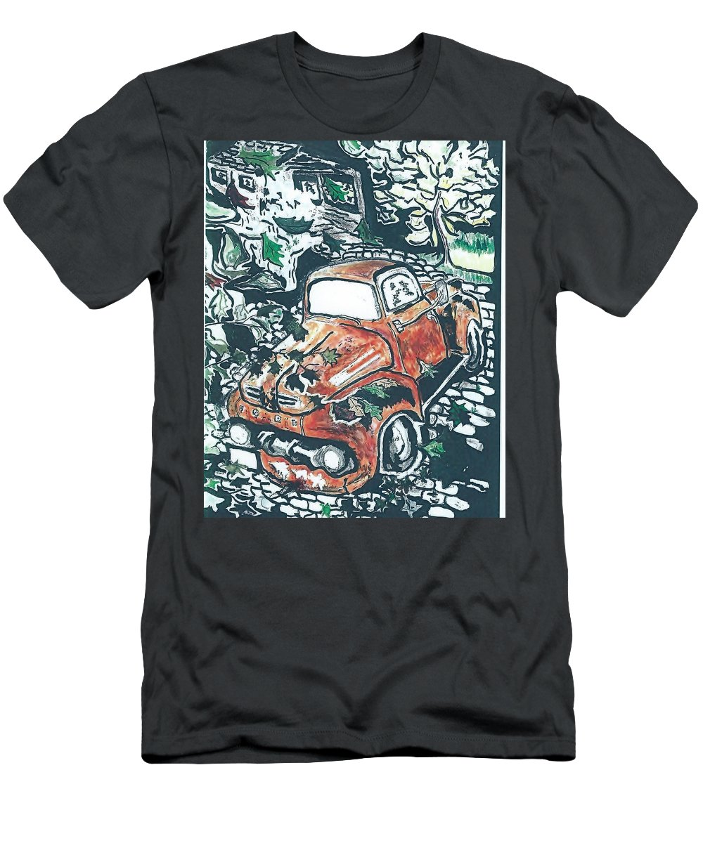 Truck Time Forgot Men's T-Shirt (Athletic Fit) featuring the drawing Rusty Truck by Richard Mangino