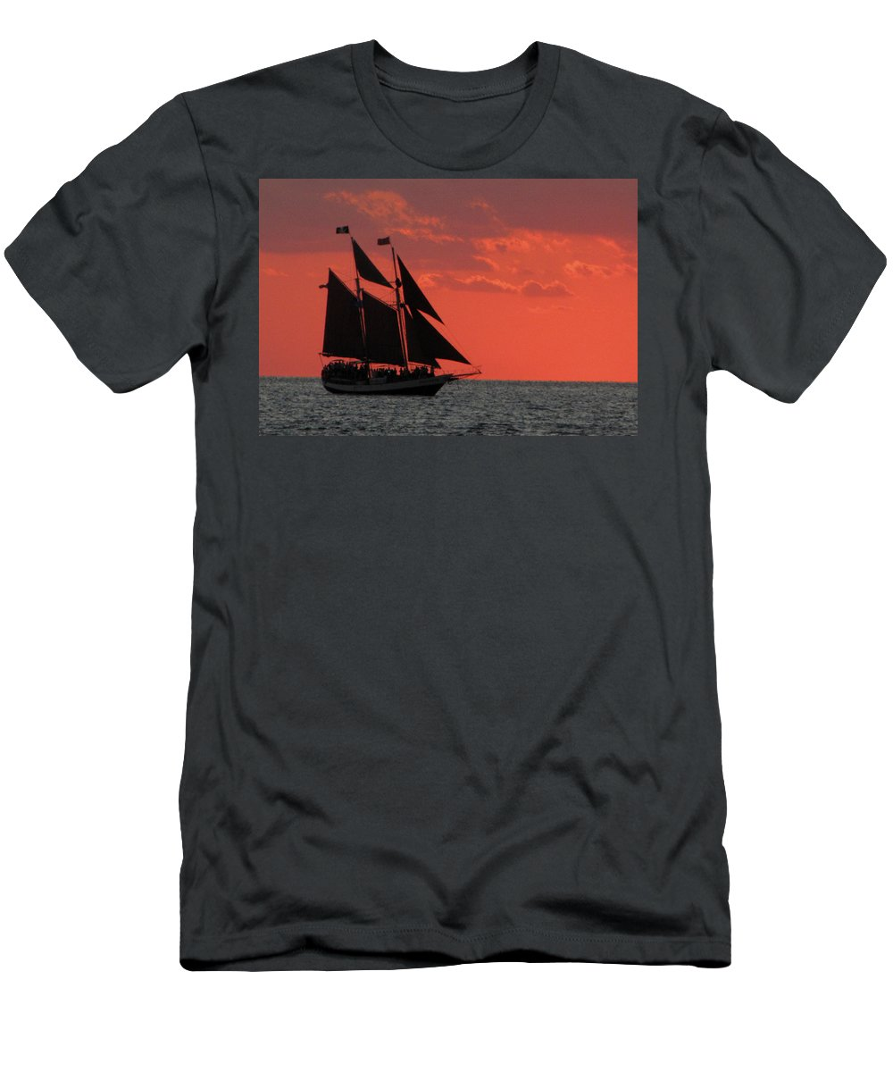 Sunset Men's T-Shirt (Athletic Fit) featuring the photograph Key West Sunset Sail 5 by Bob Slitzan
