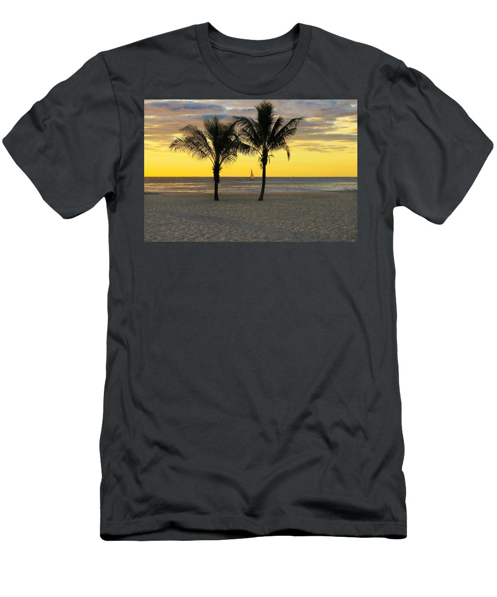 Sunrise Men's T-Shirt (Athletic Fit) featuring the photograph Sail Away At Dawn by Roger Becker