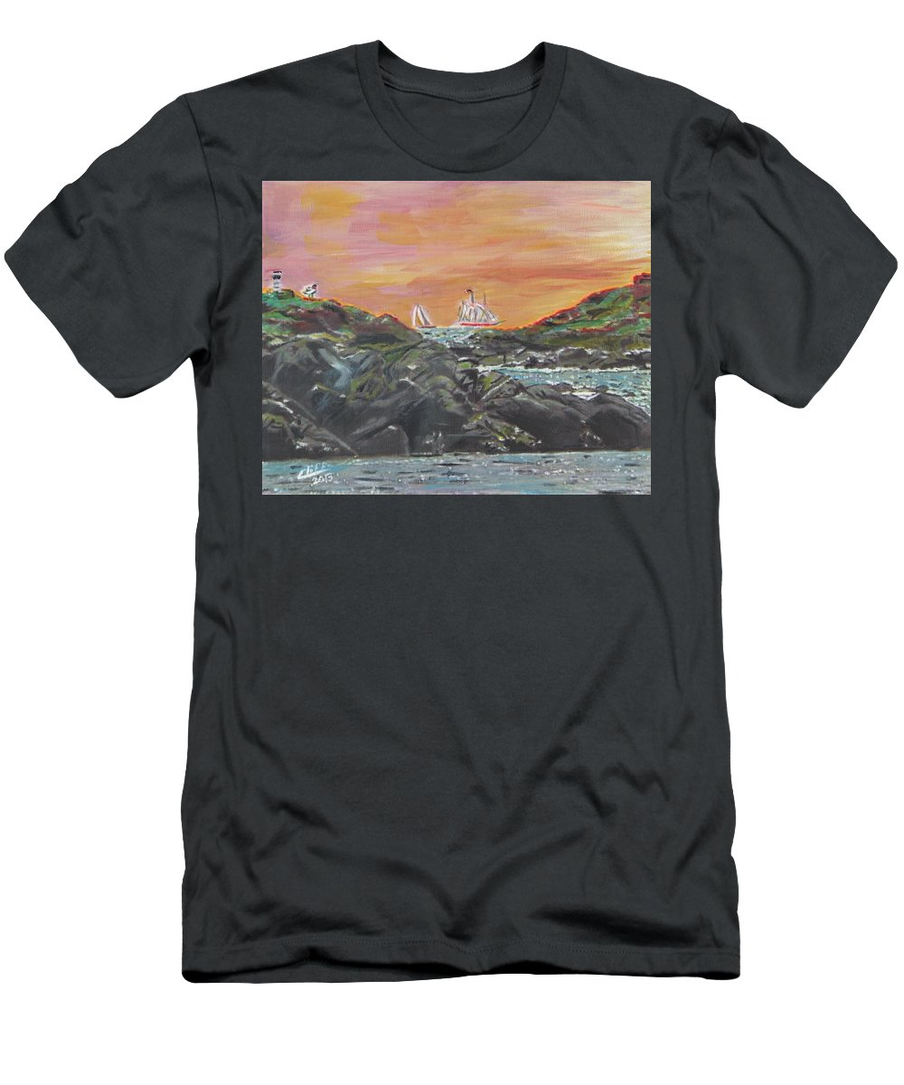 Nature Men's T-Shirt (Athletic Fit) featuring the painting Sailor's Delight by Cliff Wilson
