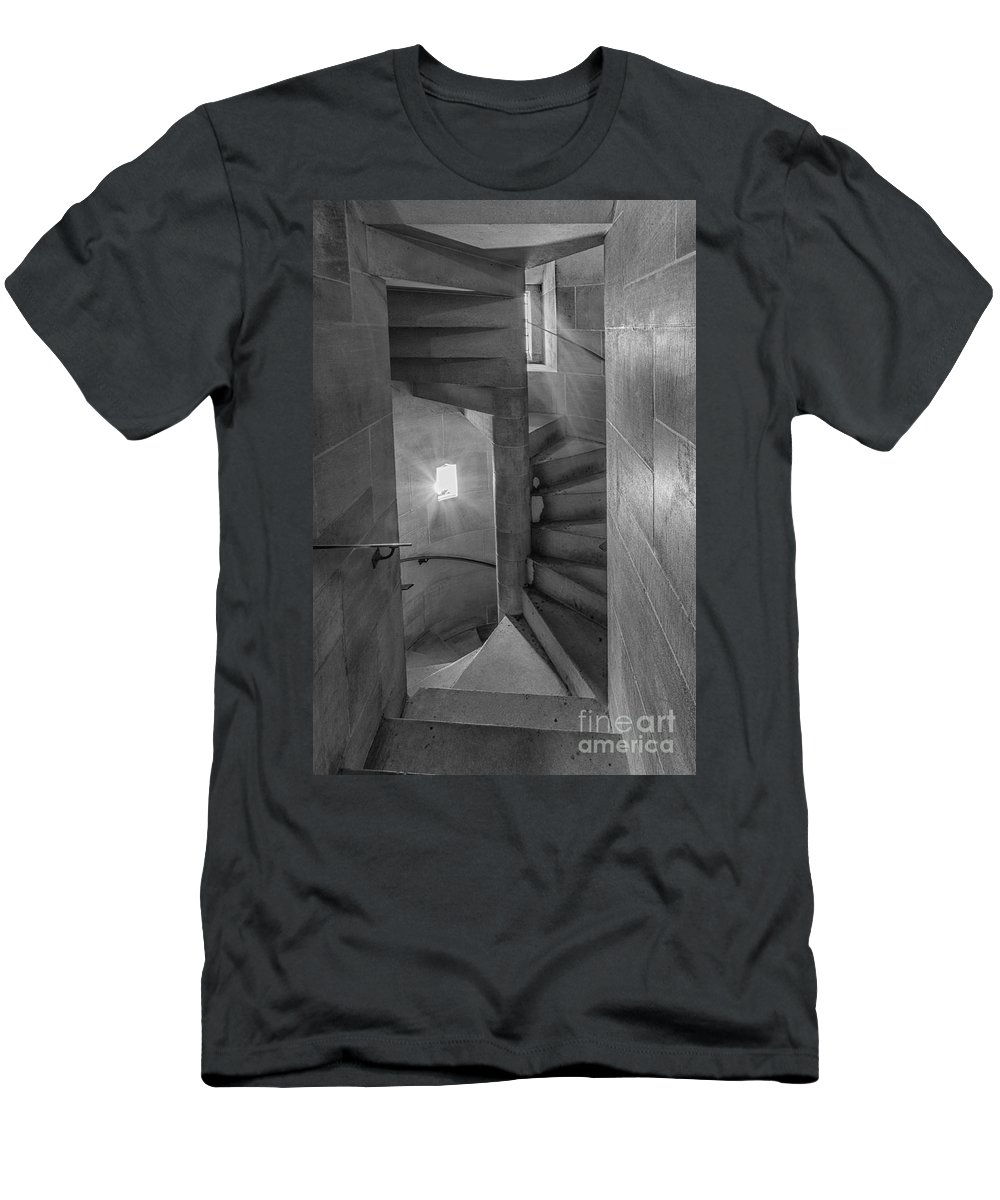 B+w Men's T-Shirt (Athletic Fit) featuring the photograph Saint John The Divine Spiral Stairs Bw by Jerry Fornarotto