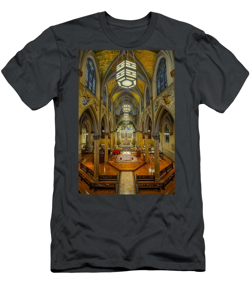 The Actor's Chapel Men's T-Shirt (Athletic Fit) featuring the photograph Saint Malachy The Actors Chapel by Susan Candelario