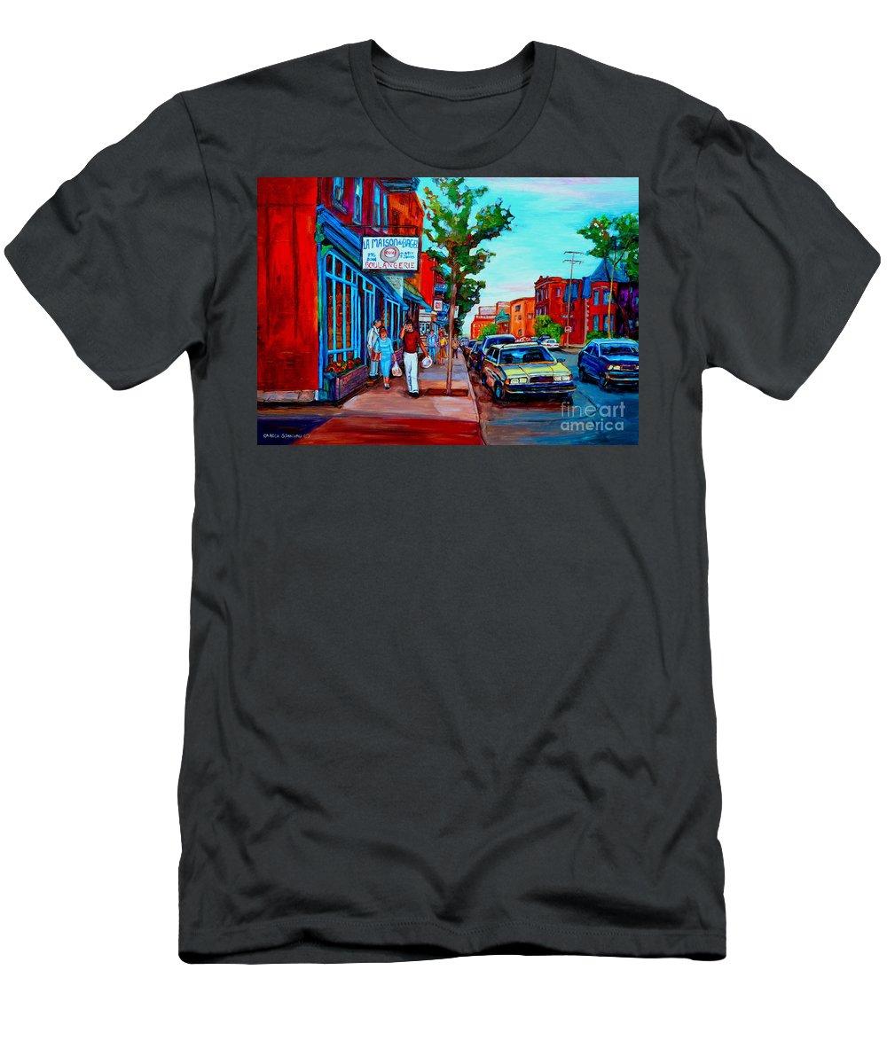 St.viateur Bagel Shop T-Shirt featuring the painting Saint Viateur Bagel Shop by Carole Spandau