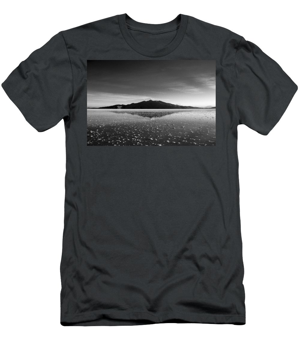 Salt Flat Men's T-Shirt (Athletic Fit) featuring the photograph Salt Cloud Reflection Black And White by For Ninety One Days