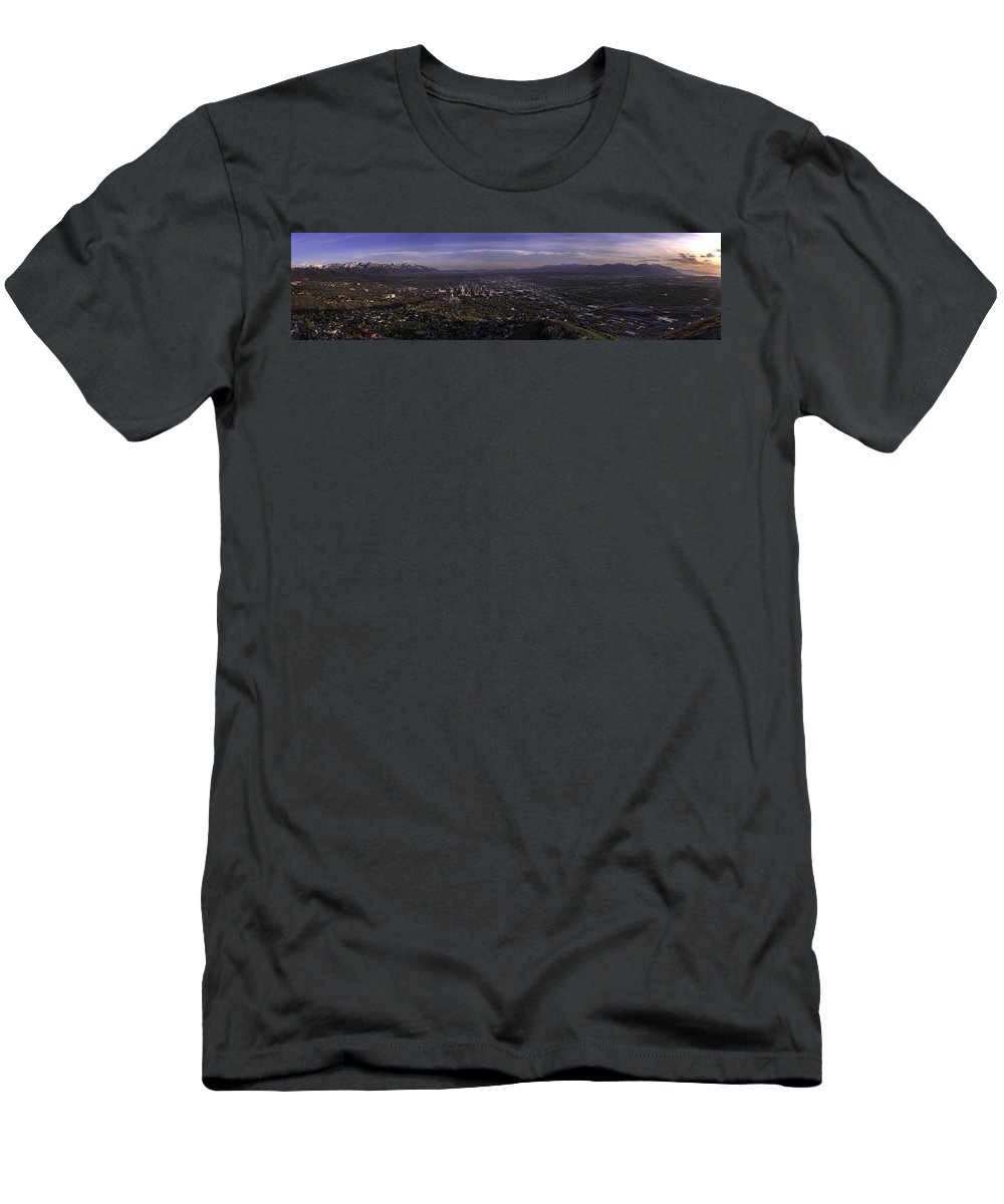 Architecture Men's T-Shirt (Athletic Fit) featuring the photograph Salt Lake Valley by Chad Dutson