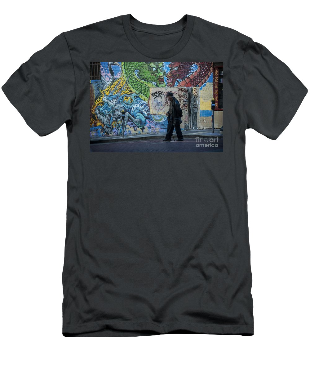 Art Men's T-Shirt (Athletic Fit) featuring the photograph San Francisco Chinatown Street Art by Juli Scalzi