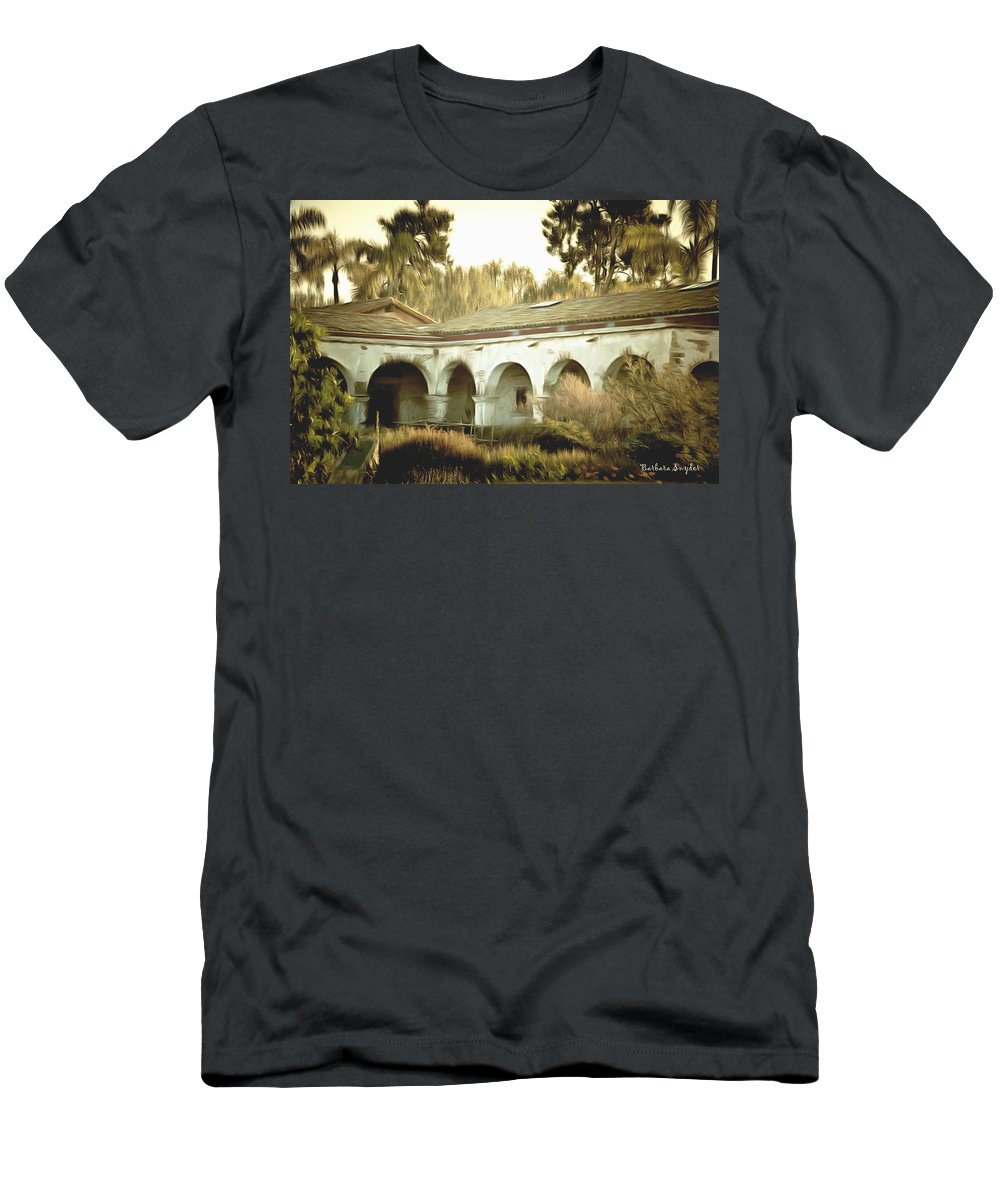 San Juan Capistrano California Men's T-Shirt (Athletic Fit) featuring the painting San Juan Capistrano California by Barbara Snyder