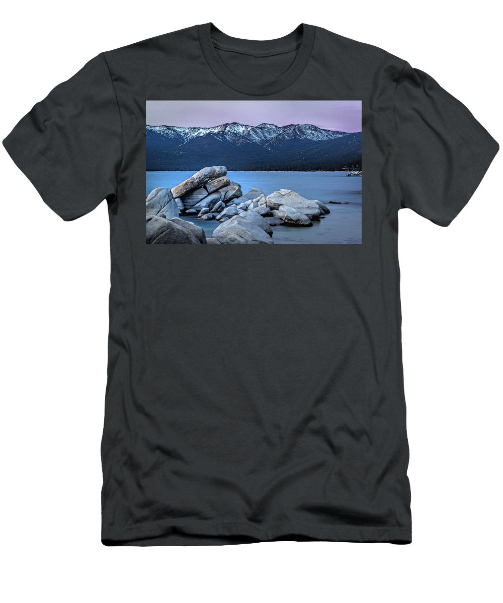 Landscape Men's T-Shirt (Athletic Fit) featuring the photograph Sand Harbor Rocks by Maria Coulson
