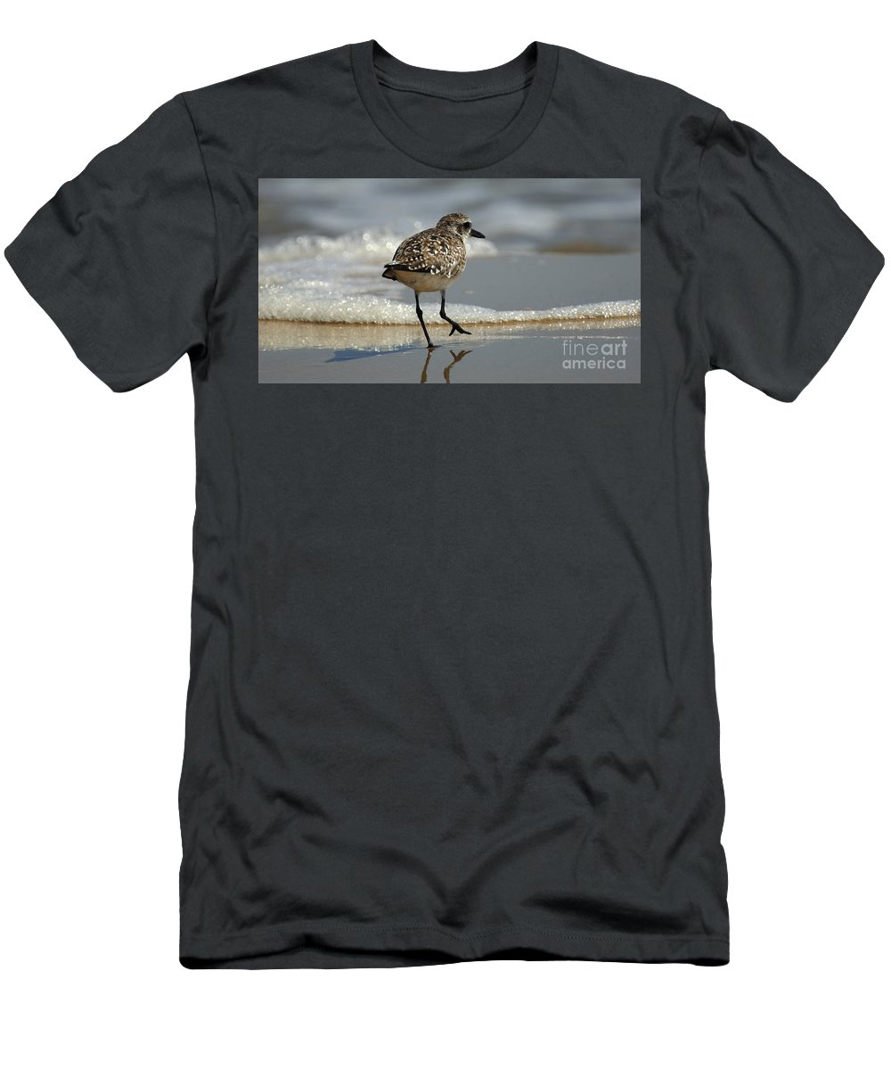Bird Men's T-Shirt (Athletic Fit) featuring the photograph Sanderling Gulf Of Mexico by Bob Christopher