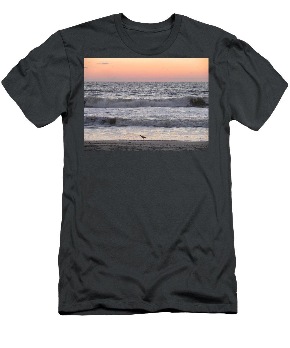 Landscape Men's T-Shirt (Athletic Fit) featuring the photograph Sandpiper At Sunrise by Ellen Meakin