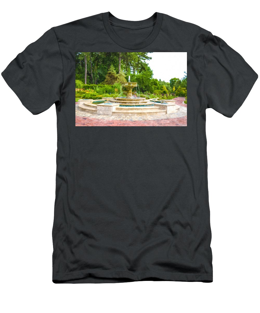 Sarah Lee Baker Perennial Garden Men's T-Shirt (Athletic Fit) featuring the painting Sarah Lee Baker Perennial Garden 5 by Jeelan Clark