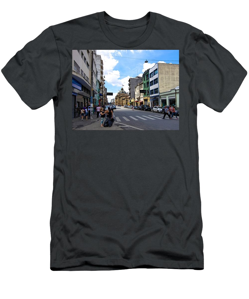 Street Photography Men's T-Shirt (Athletic Fit) featuring the photograph Saturday Afternoon In Sao Paulo by Julie Niemela