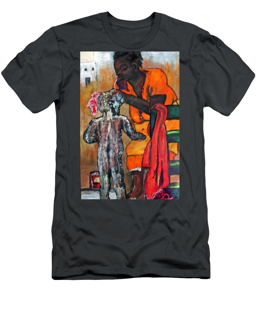 Mom Bathing Boy Men's T-Shirt (Athletic Fit) featuring the painting Saturday Night Bath by Peggy Blood