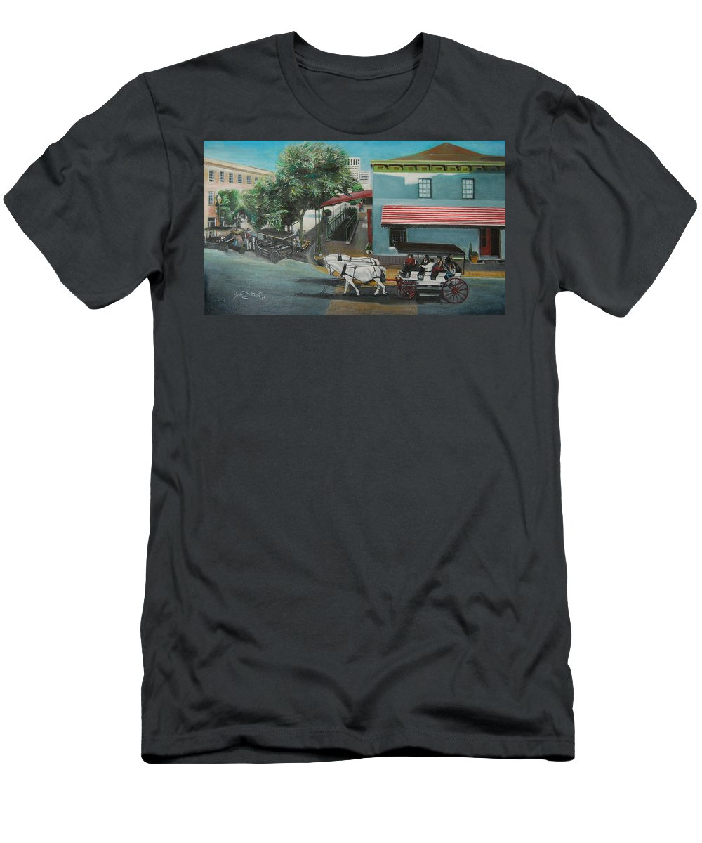 Men's T-Shirt (Athletic Fit) featuring the painting Savannah City Market by Jude Darrien