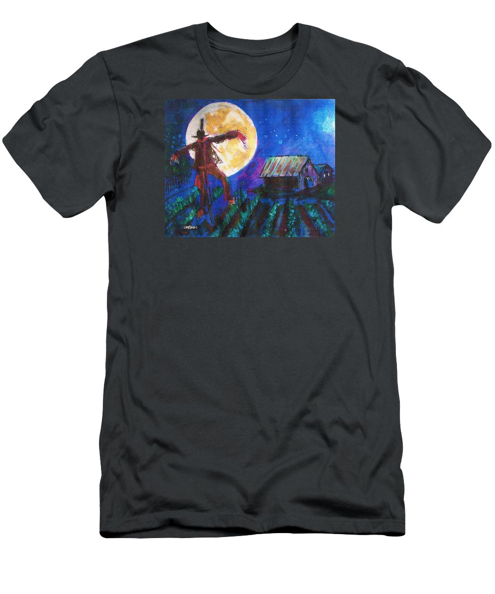 Scarecrow Dancing With The Moon Men's T-Shirt (Athletic Fit) featuring the painting Scarecrow Dancing With The Moon by Seth Weaver