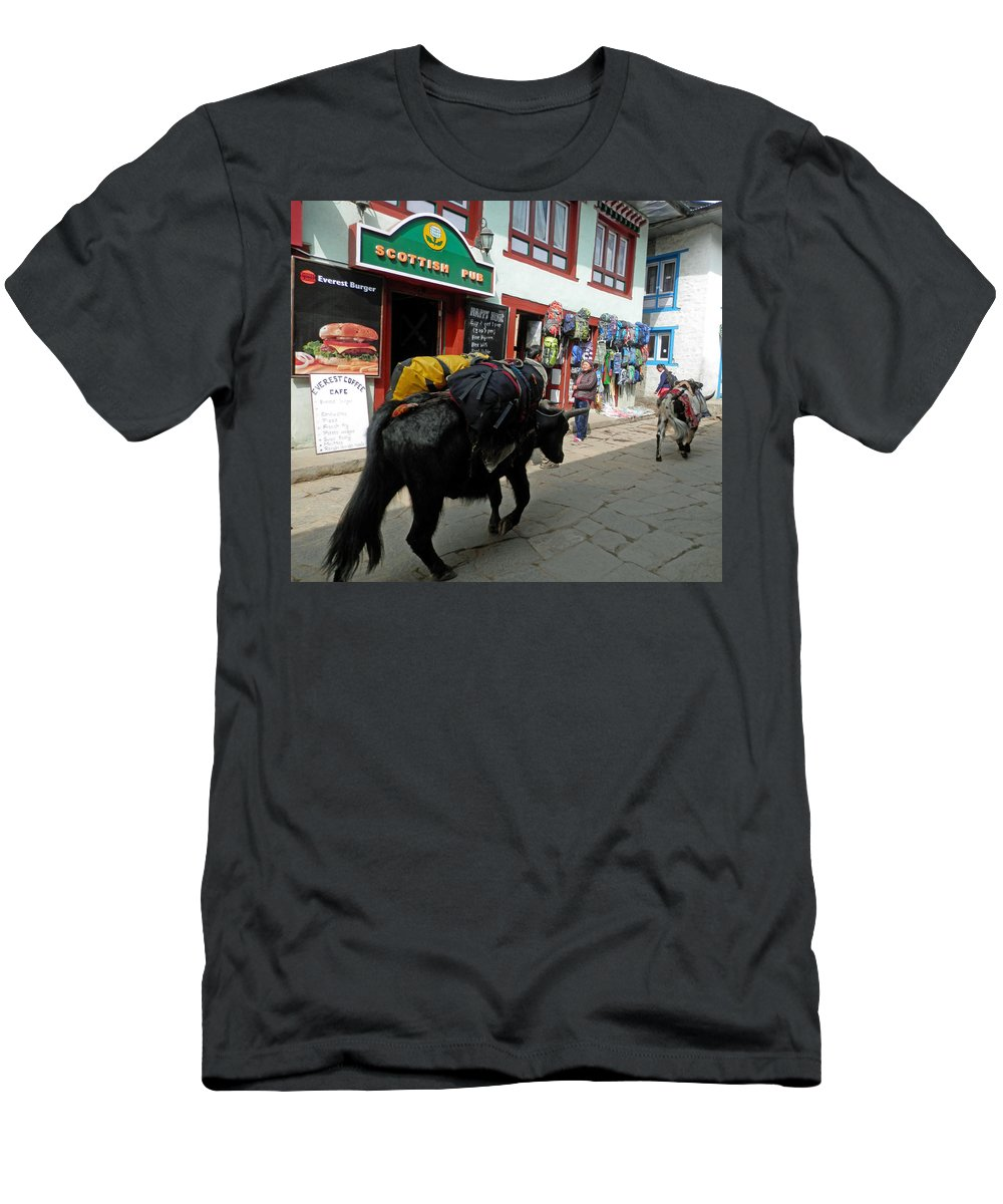 Pub Men's T-Shirt (Athletic Fit) featuring the photograph Scottish Pub In Lukla by Pema Hou