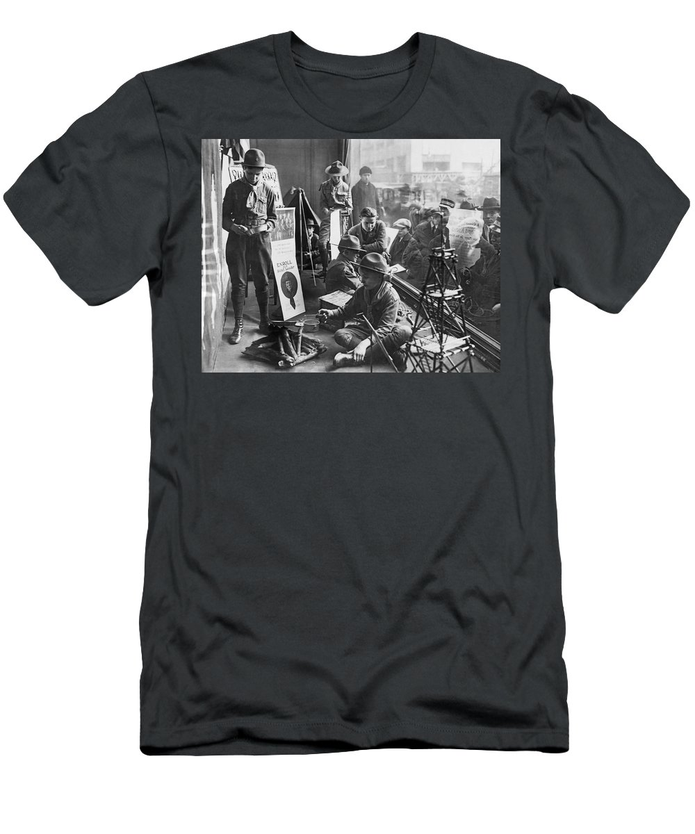 1920s Men's T-Shirt (Athletic Fit) featuring the photograph Scouts Camp In Window by Underwood Archives
