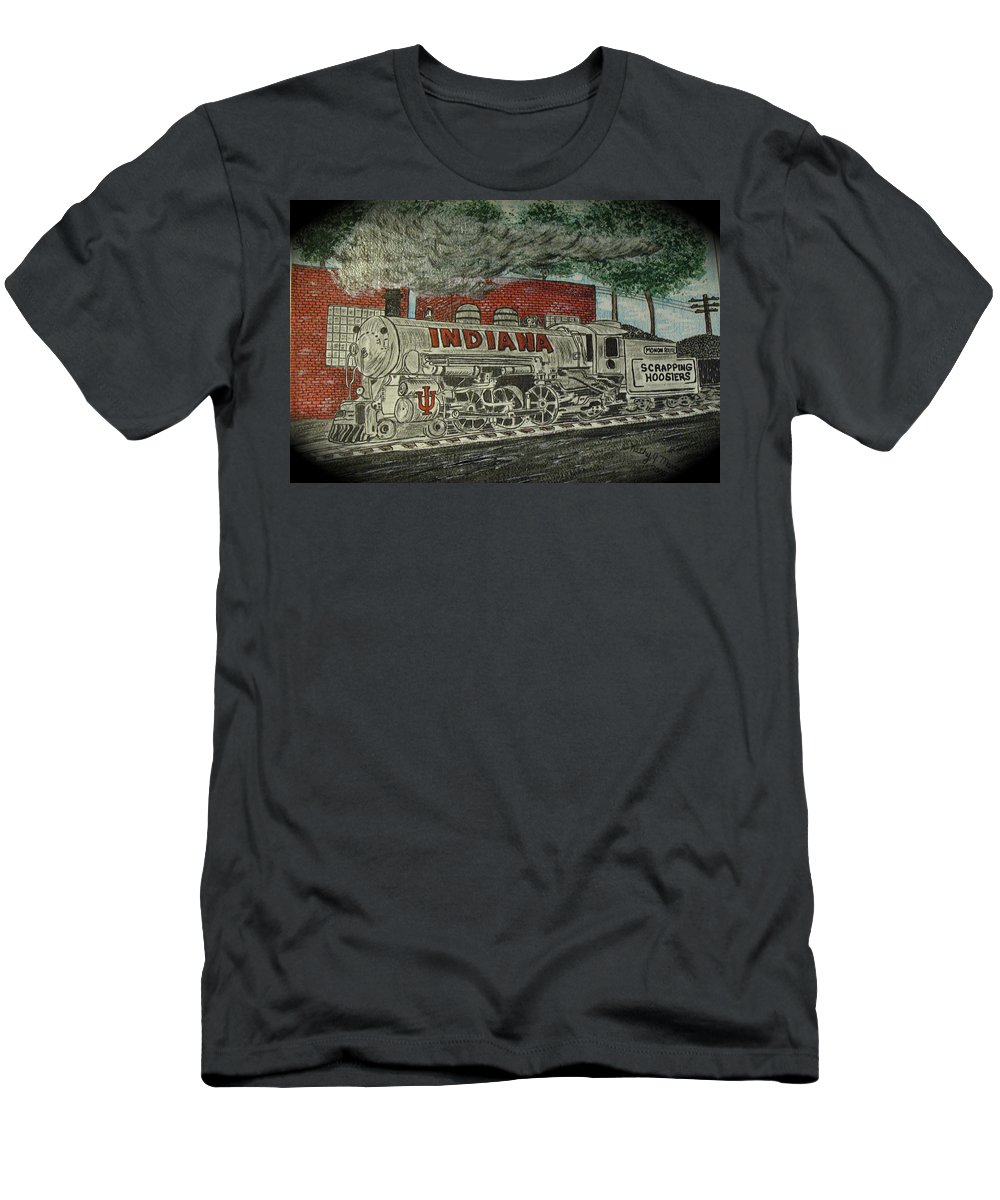 Scrapping Hoosiers Men's T-Shirt (Athletic Fit) featuring the painting Scrapping Hoosiers Indiana Monon Train by Kathy Marrs Chandler