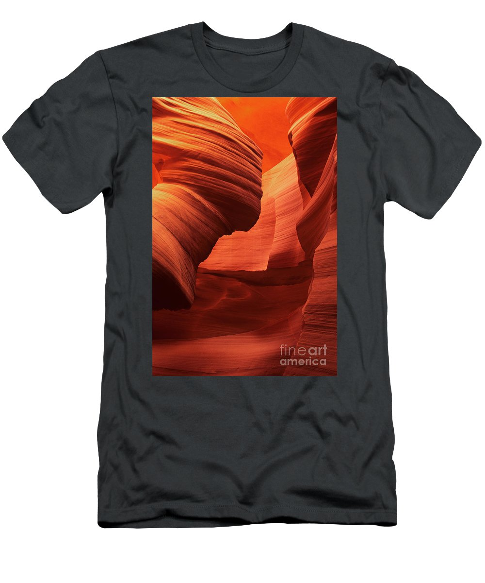 North America Men's T-Shirt (Athletic Fit) featuring the photograph Sculpted Sandstone Upper Antelope Slot Canyon Arizona by Dave Welling