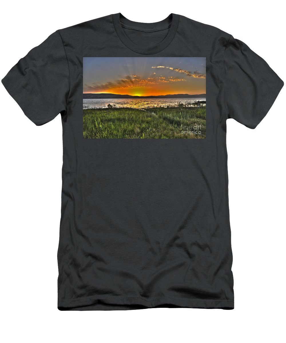 Sea Of Galilee Men's T-Shirt (Athletic Fit) featuring the photograph Sea Of Galilee Sunset by Judith Katz