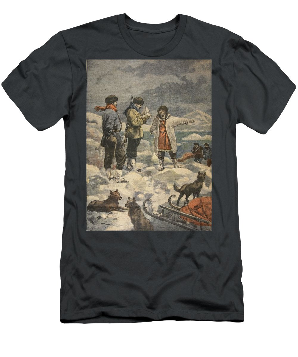 Arctic Exploration Men's T-Shirt (Athletic Fit) featuring the drawing Searching For Andree, News! by French School
