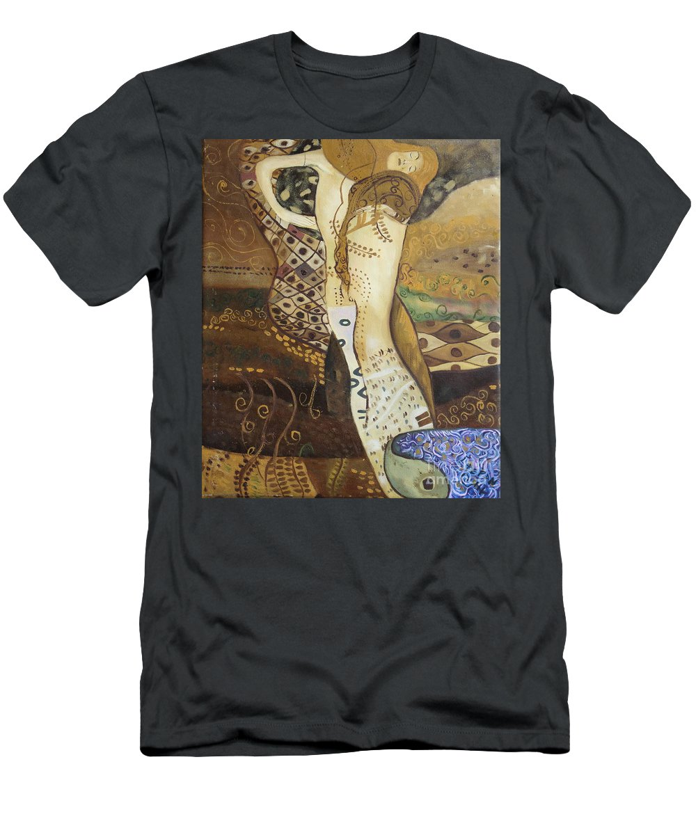 Klimt Men's T-Shirt (Athletic Fit) featuring the painting Seasnakes And Squiggles by Stefan Duncan