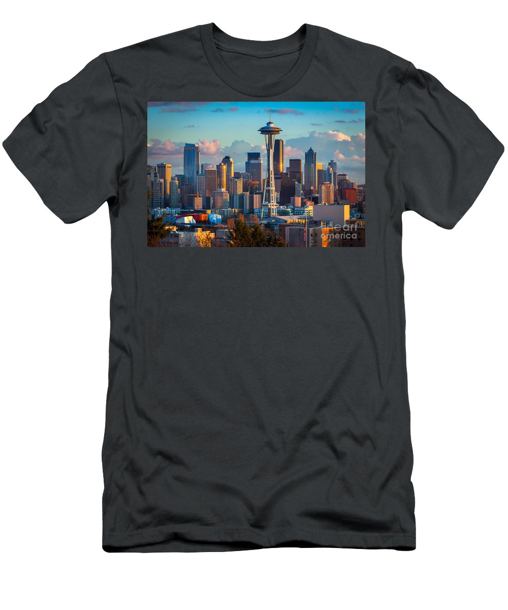 Seattle Men's T-Shirt (Athletic Fit) featuring the photograph Seattle Afternoon by Inge Johnsson