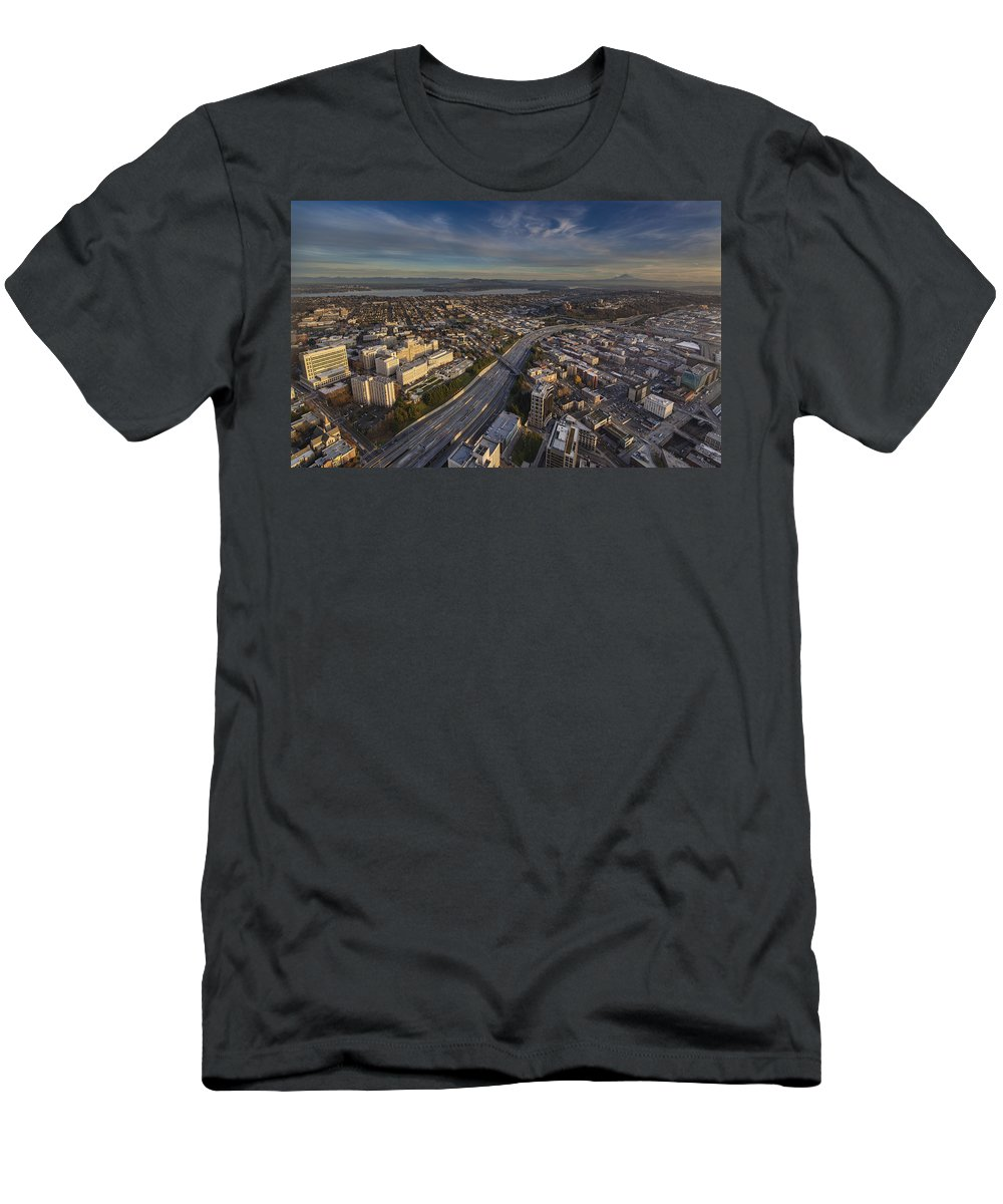 Harborview Men's T-Shirt (Athletic Fit) featuring the photograph Seattle And Rainier Golden Light by Mike Reid