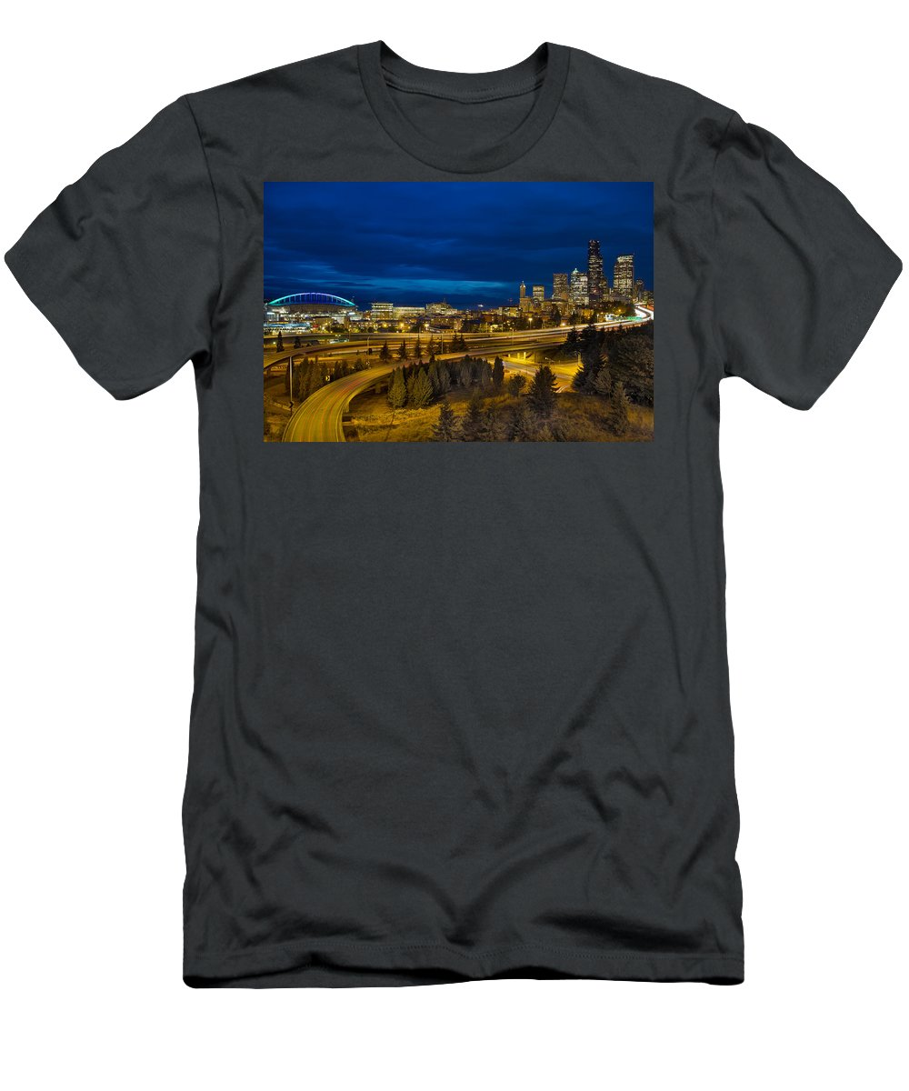 Seattle Men's T-Shirt (Athletic Fit) featuring the photograph Seattle Downtown Skyline And Freeway At Twilight by Jit Lim
