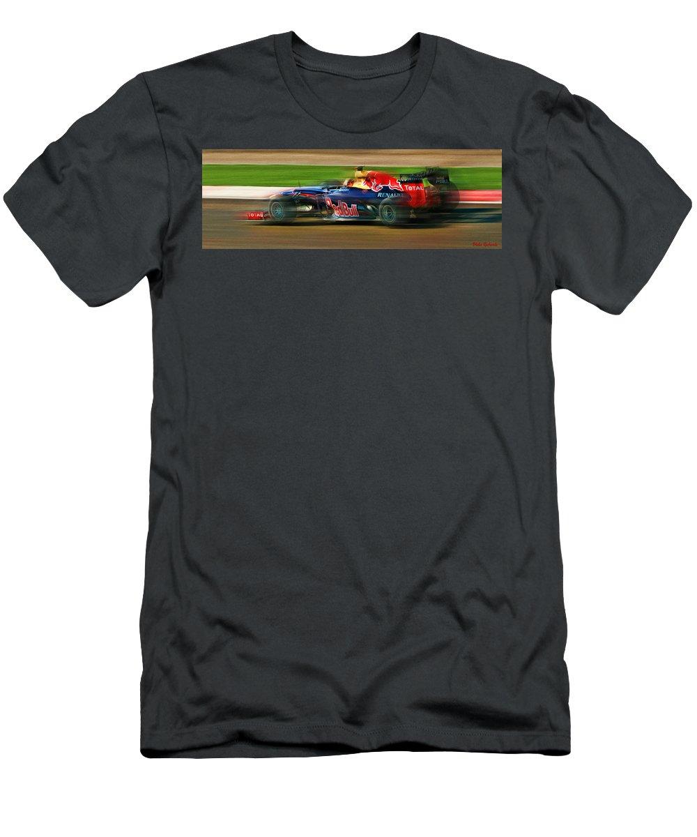 Sebastian Vettel Men's T-Shirt (Athletic Fit) featuring the photograph Sebastian Vettel by Blake Richards