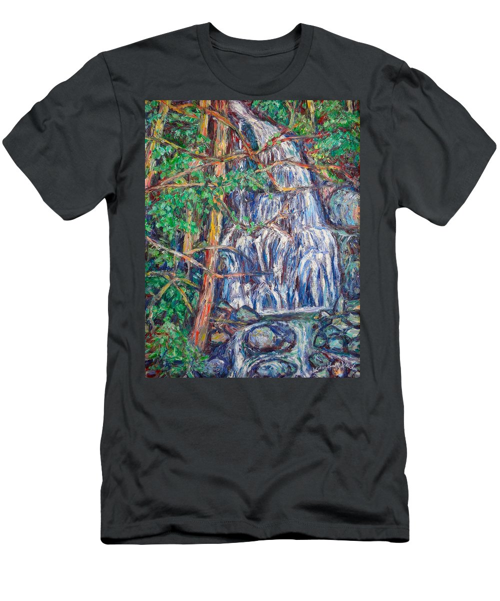 Waterfall Men's T-Shirt (Athletic Fit) featuring the painting Secluded Waterfall by Kendall Kessler