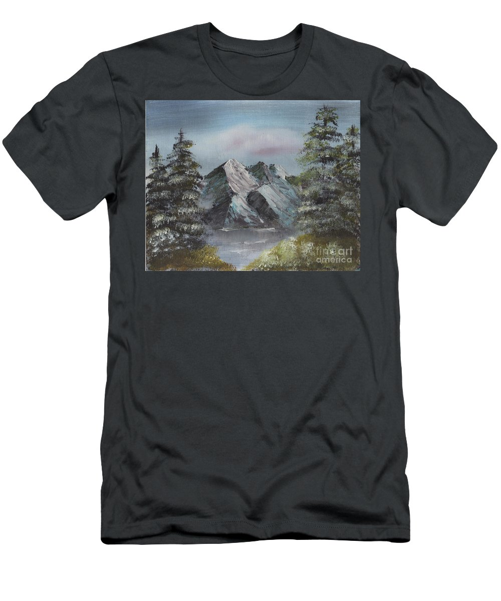 Landscape Men's T-Shirt (Athletic Fit) featuring the painting Seclusion by Suzette Broad