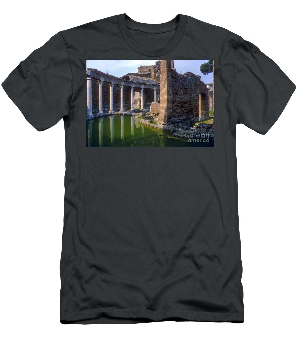 Hadrian Villa Ruin Ruins Pond Ponds Reflection Reflections Water Structure Structures Building Building Column Columns Architecture Hadrian's Villa Roman Architecture Cityscape Cityscapes Tivoli Italy City Cities Cityscape Cityscapes Men's T-Shirt (Athletic Fit) featuring the photograph Second Century Villa Of Emperor Hadrian by Bob Phillips