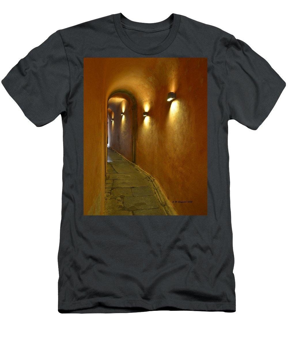 Lyon Men's T-Shirt (Athletic Fit) featuring the photograph Secret Passageway In Lyon France by Allen Sheffield