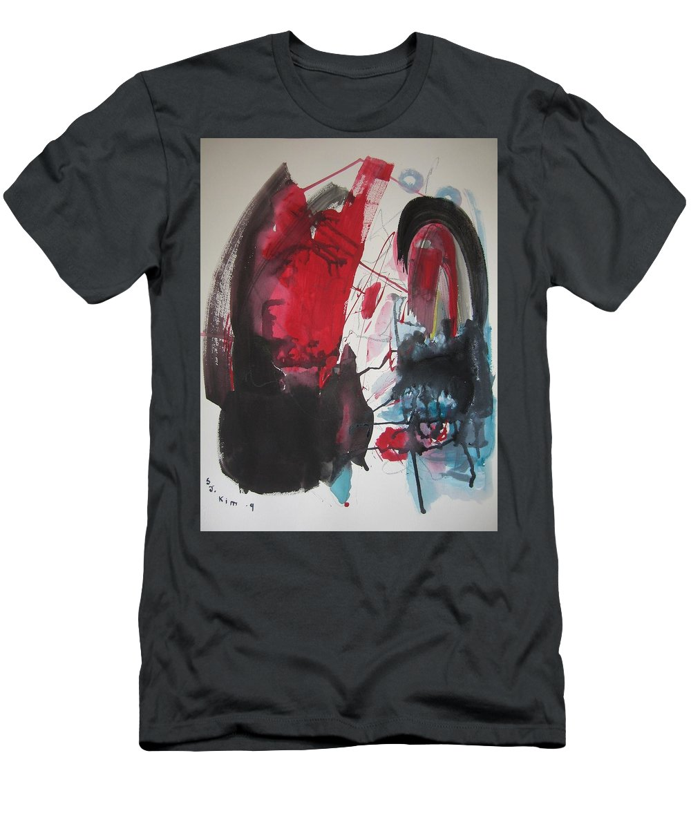 Red Paintings Men's T-Shirt (Athletic Fit) featuring the painting Seem To Happen Suddenly Original Abstract Colorful Landscape Painting For Sale Red Blue Green by Seon-Jeong Kim