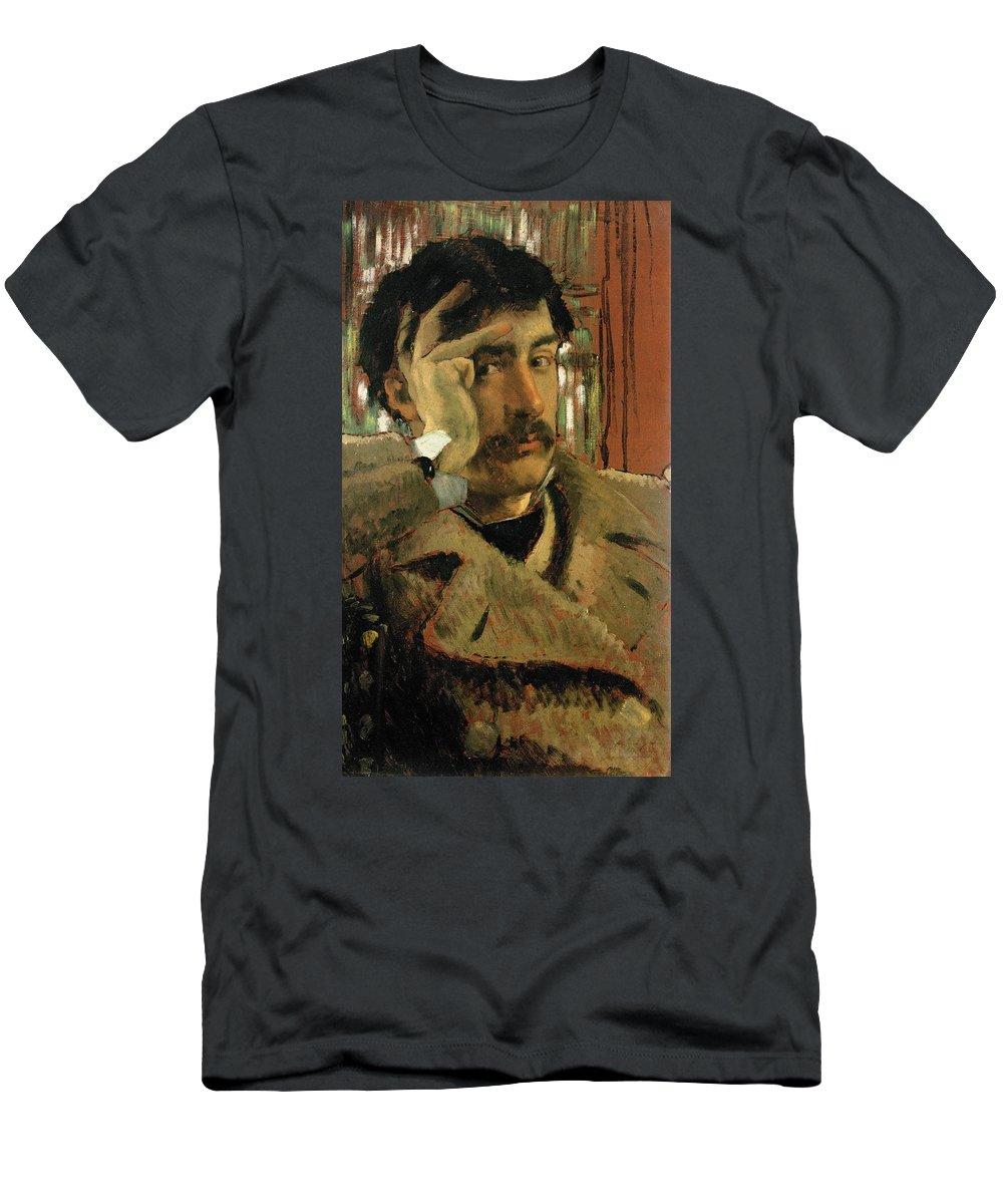 Thoughtful Men's T-Shirt (Athletic Fit) featuring the photograph Self Portrait, C.1865 Panel by James Jacques Joseph Tissot