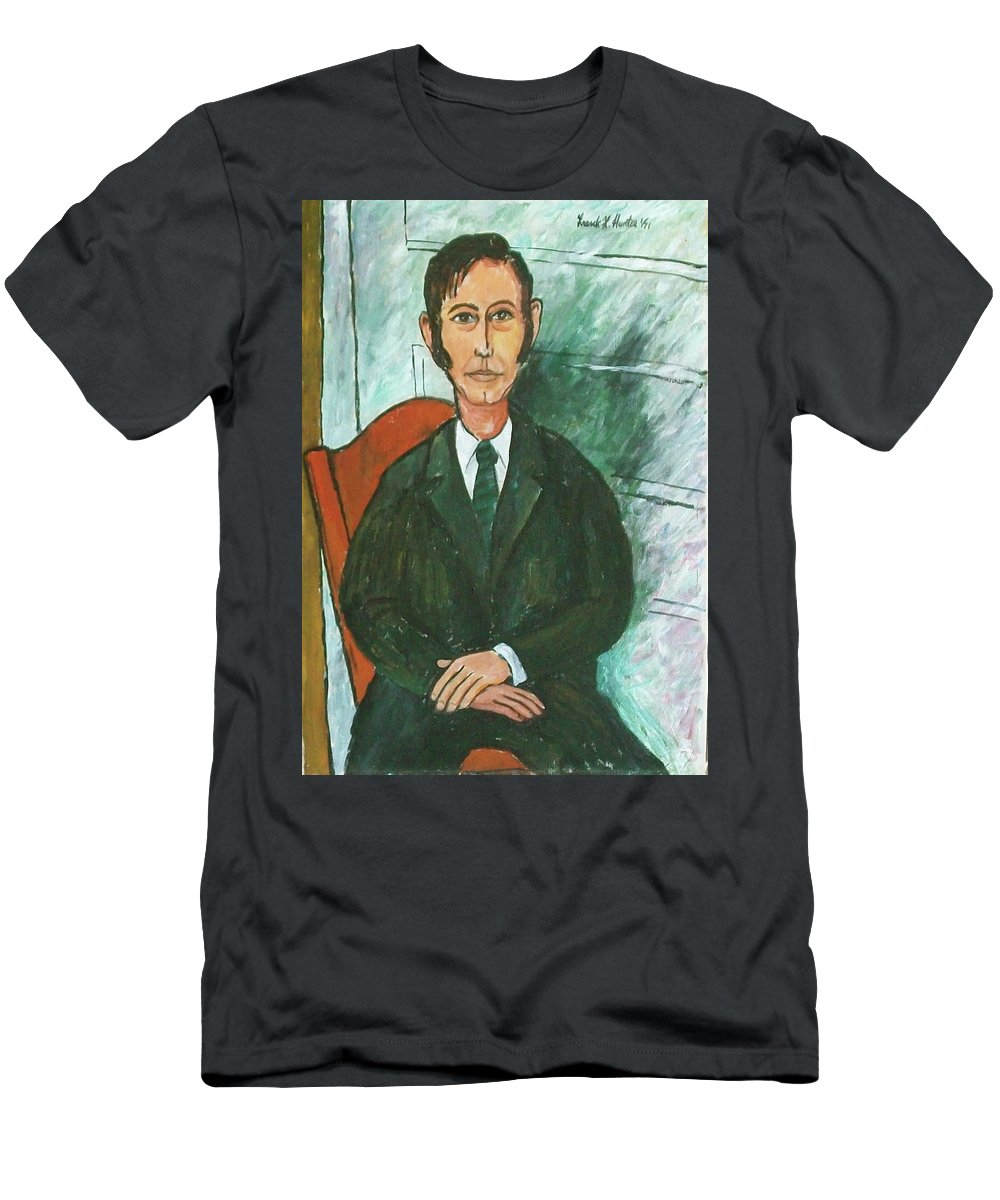 Me Frank Hunter Men's T-Shirt (Athletic Fit) featuring the painting 1st Self Portrait Age 33 by Frank Hunter