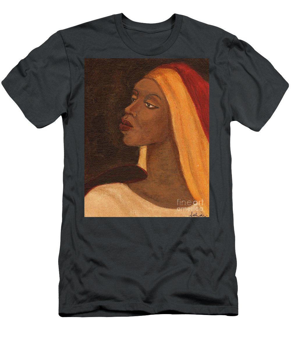 An African Woman Men's T-Shirt (Athletic Fit) featuring the painting Semi-abstract- Woman by Asha Sudhaker Shenoy