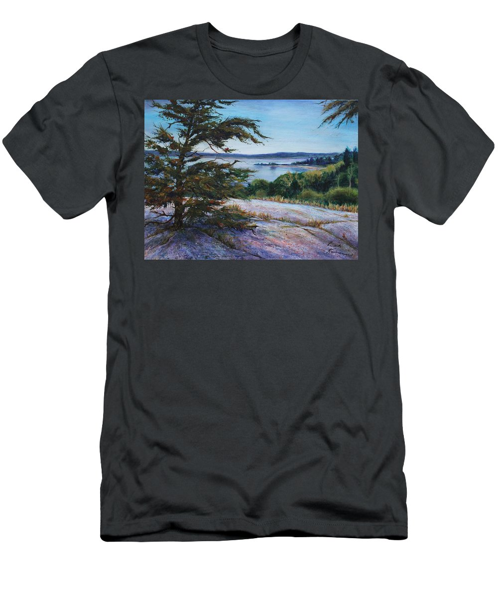 Tree Men's T-Shirt (Athletic Fit) featuring the painting Sentinal by Ruth Kamenev