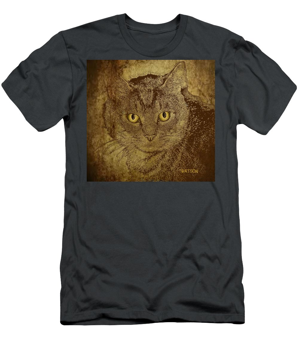 Cat Prints Men's T-Shirt (Athletic Fit) featuring the digital art Sepia Cat by Marlene Watson