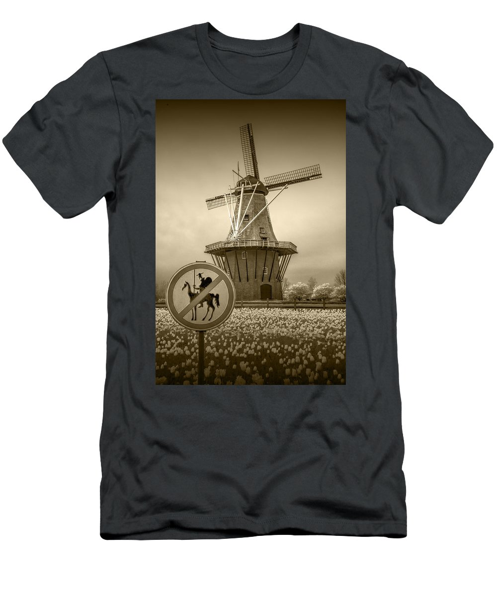 Amber Men's T-Shirt (Athletic Fit) featuring the photograph Sepia Colored No Tilting At Windmills by Randall Nyhof