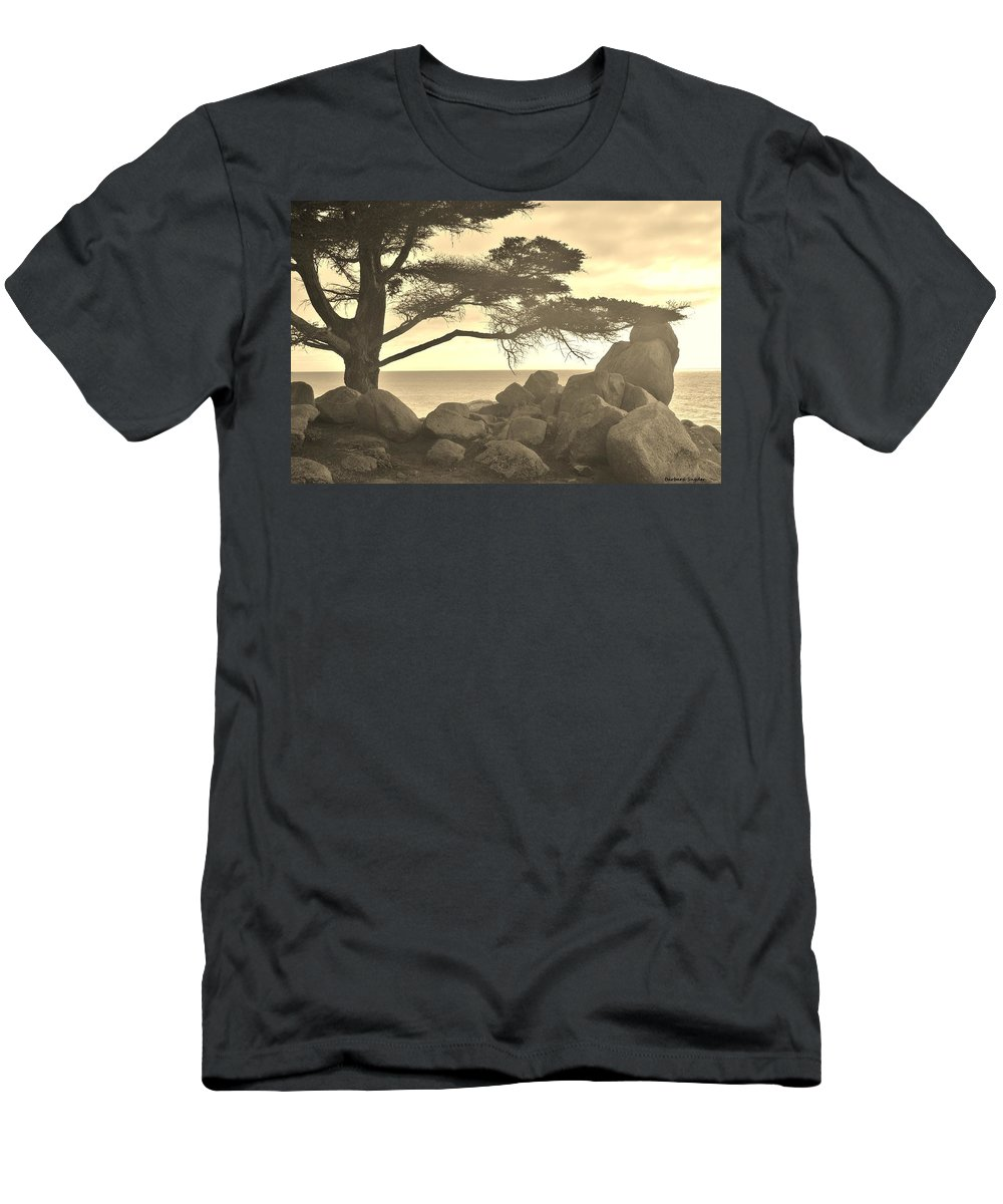 Sepia Seaview Men's T-Shirt (Athletic Fit) featuring the digital art Sepia Seaview by Barbara Snyder