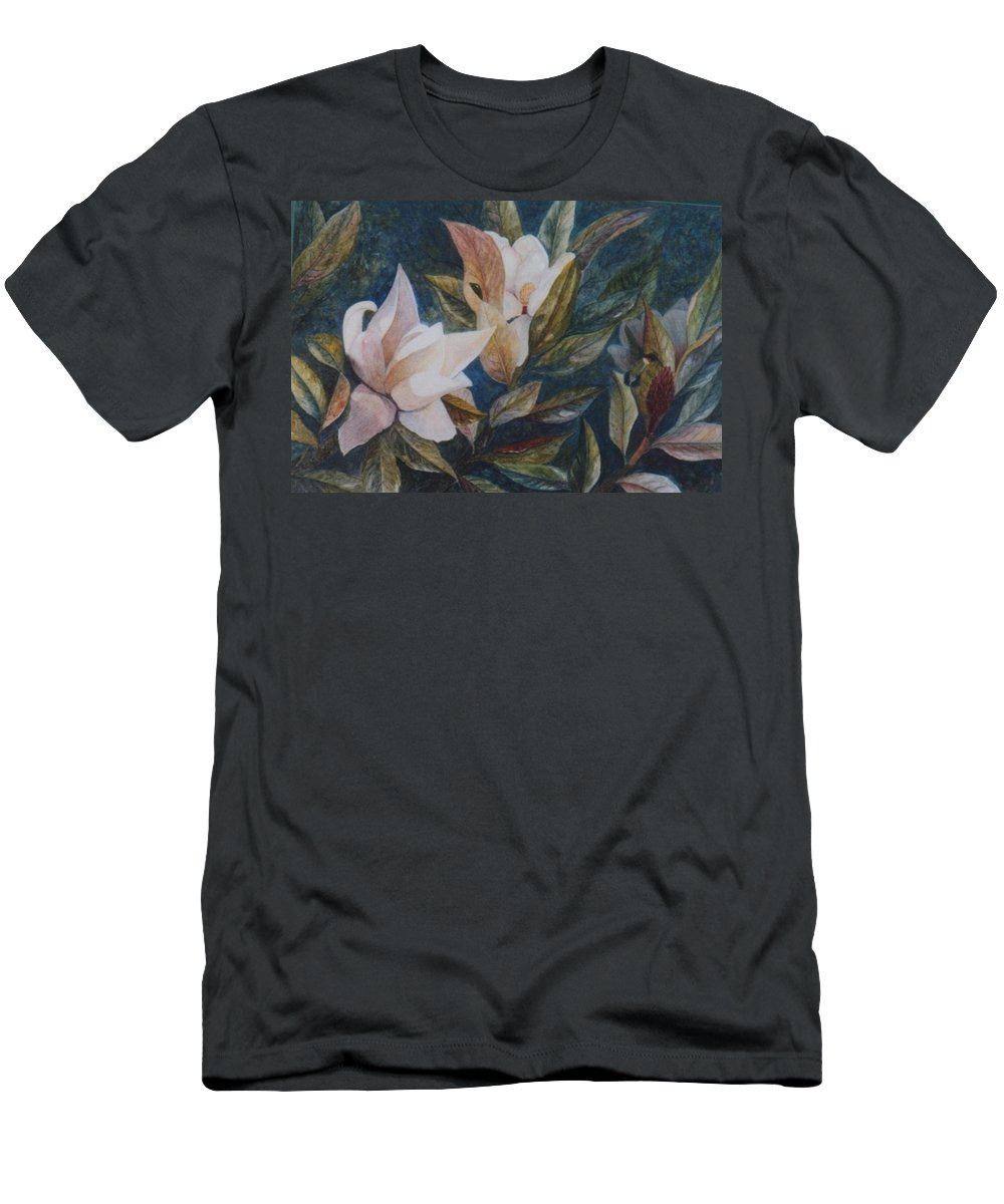 Magnolias; Humming Bird Men's T-Shirt (Athletic Fit) featuring the painting Serenity by Ben Kiger