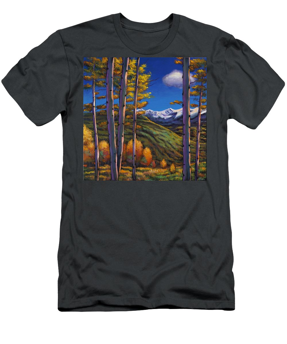 Autumn Aspen Men's T-Shirt (Athletic Fit) featuring the painting Serenity by Johnathan Harris