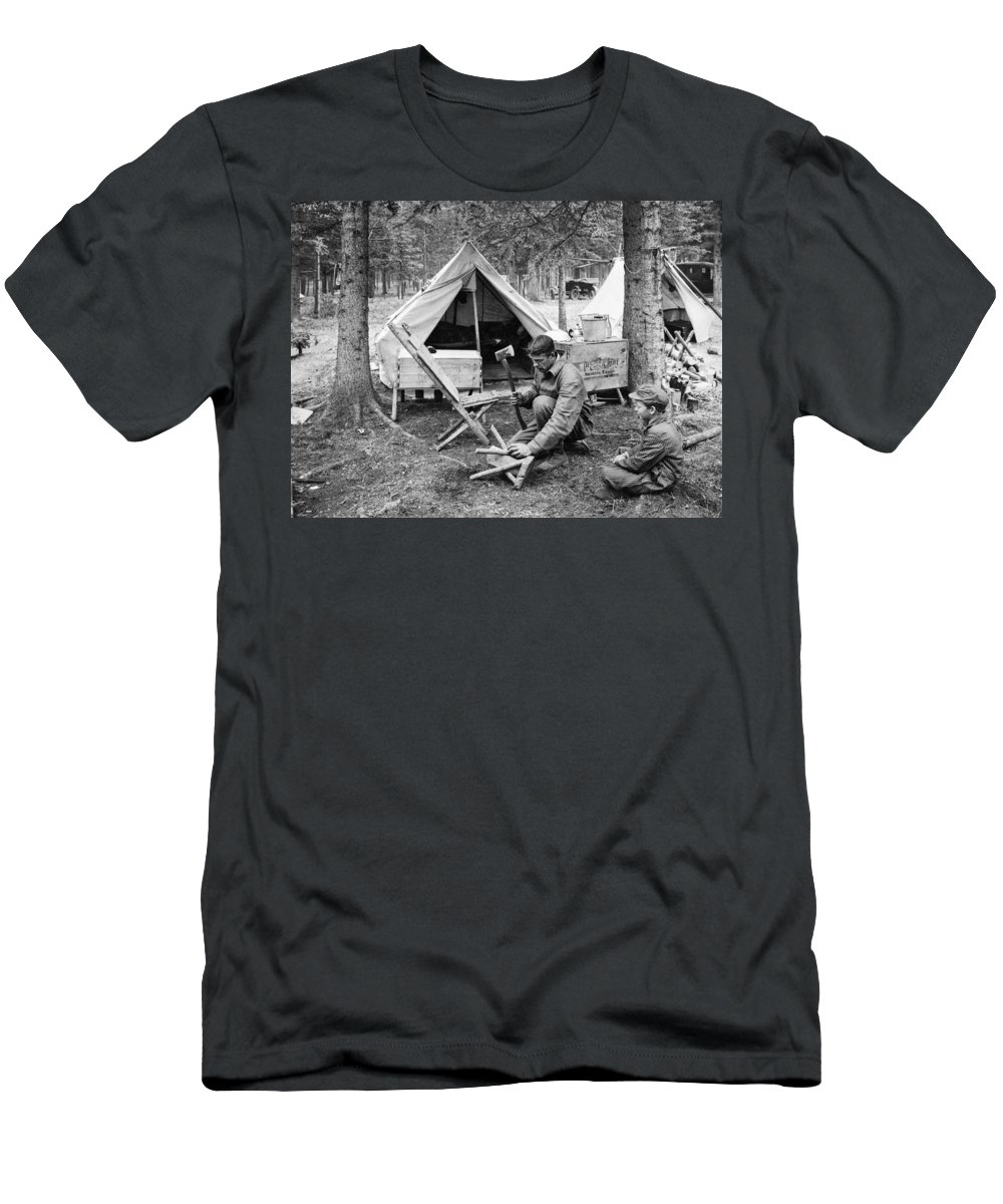 1920s Men's T-Shirt (Athletic Fit) featuring the photograph Setting Up Camp by Underwood Archives