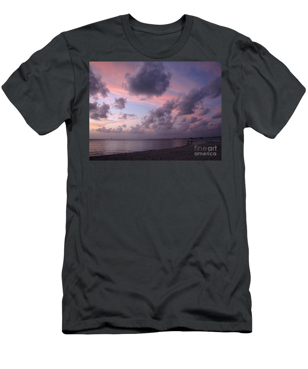 Seven Mile Beach Men's T-Shirt (Athletic Fit) featuring the photograph Seven Mile Beach Sunset by Peggy Hughes