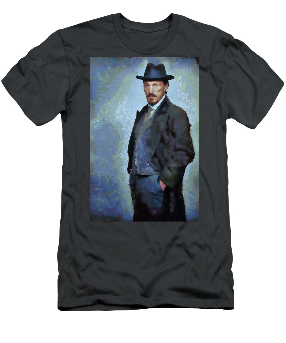 Ripper Street Men's T-Shirt (Athletic Fit) featuring the painting Sgt Drake by Janice MacLellan