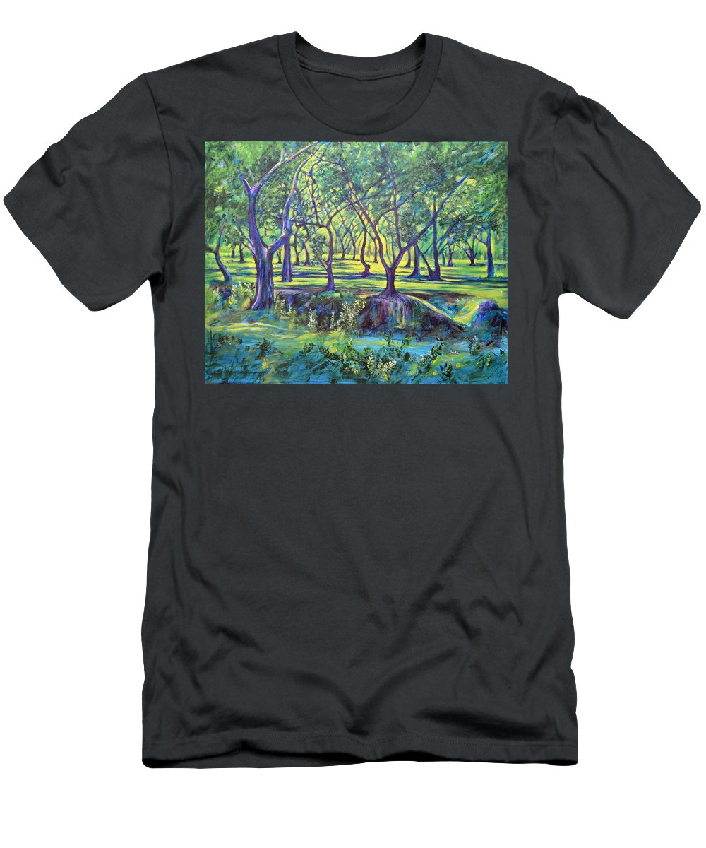 Landscape Men's T-Shirt (Athletic Fit) featuring the painting Shadows At Noon - Indian Landscapes by Usha Shantharam