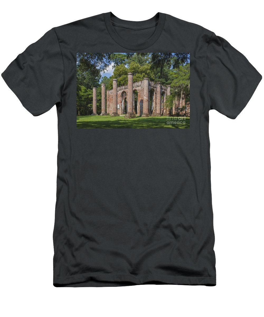Historic Churches Men's T-Shirt (Athletic Fit) featuring the photograph Sheldon Church 193 by Maria Struss