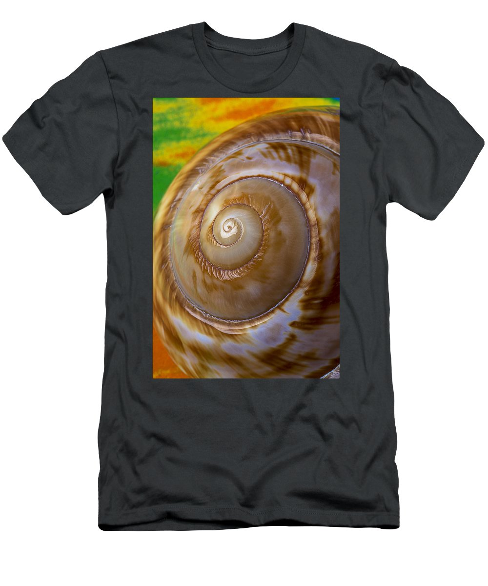 Shell Spiral Men's T-Shirt (Athletic Fit) featuring the photograph Shell Spiral by Garry Gay